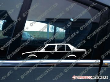 2x Car Silhouette sticker - Volkswagen Jetta MK2 classic 4-door saloon / sedan vw